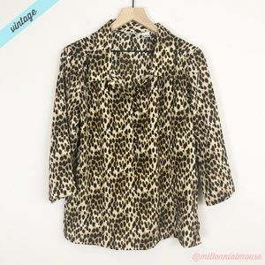 [Vintage] Cheetah Animal Print Popover Blouse